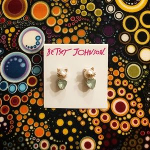 """meow"" Betsy Johnson Cat Earrings"